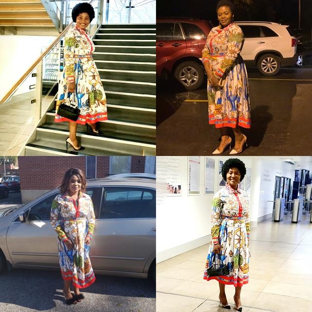 Summer Fall Lapel Mid-Calf High Waist Dress Big Plus Size Elegant Office Ladies Tunic 6