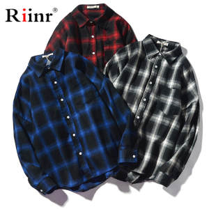 Riinr Men Plaid Long-Sleeve Shirts Casual Fashion Male Spring Tops Turn-Down-Collar New-Product