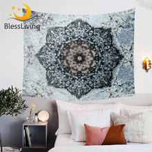 BlessLiving Mandala Decorative Tapestry Black and Blue Wall Hanging Floral Printed Tapestry for Home Flower Wall Carpet Dropship(China)