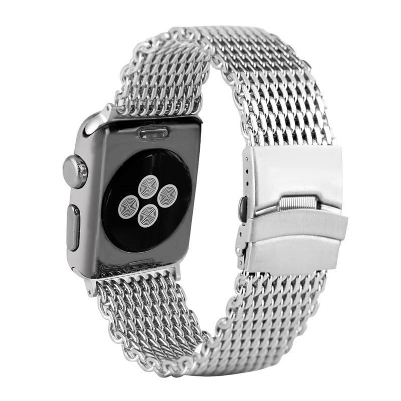Milanese Shark Mesh Watch Band For Apple Watch Band 42MM 38MM Metal Bracelets Strap Silver Buckle Luxury Stainless Watch Bands