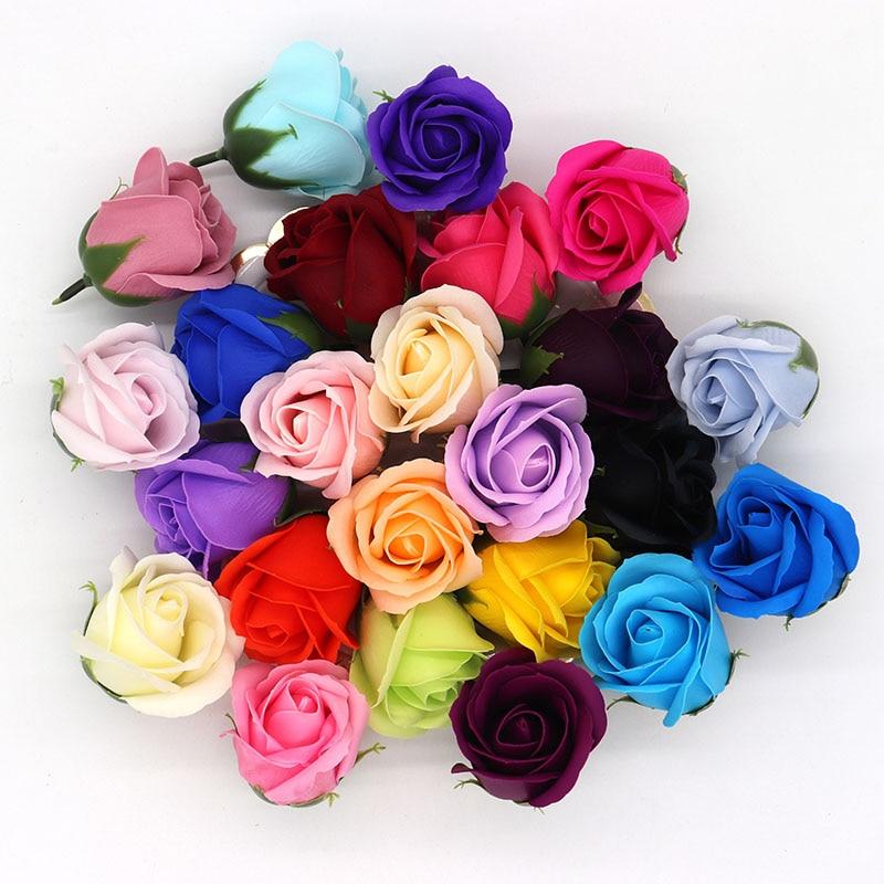 50Pcs/Lot Rose Soap Flowers Scented Bath Body Petal Handmade Paper Soap Roses Flower Romantic Wedding Valentine'S Day Gift