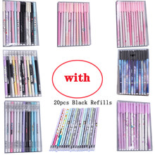 12pcs/set Kawaii Student Gel Pens Cute Pattern Stationery Pen Simple Creative Office Accessories with 20pcs Replaceable Refills