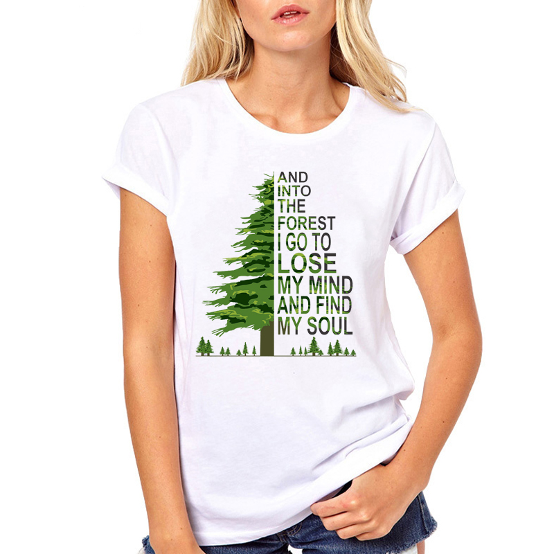 Women Clothes Tree Forest Travel Vacay Mode Road Trip Printed Summer Ladies Woman Harajuku Top Tee Shirt T Female T-shirt