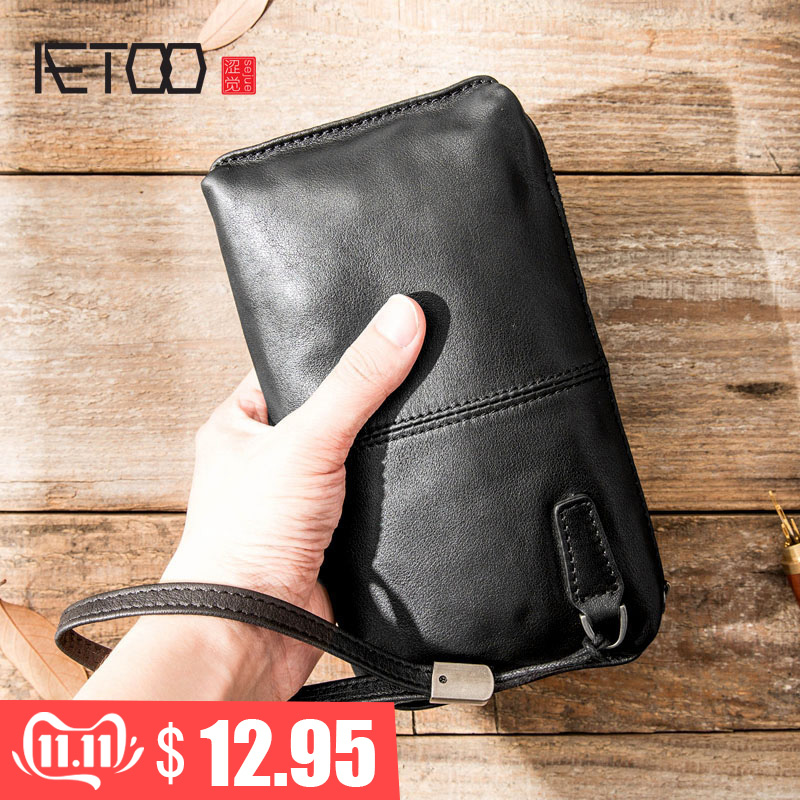 AETOO Leather Handbag Men's Soft Leather Retro Casual Long Wallet Men's First Layer Leather Zipper Wallet Phone Bag Female Tide