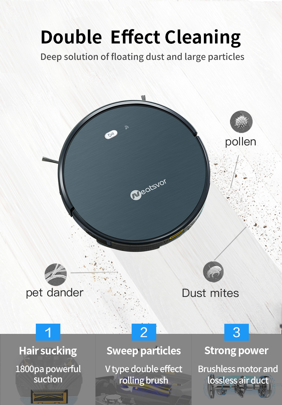 H3a971101bdc94a3589efc5dc66569a5dd NEATSVOR X500 Robot Vacuum Cleaner 1800PA Poweful Suction 3in1 pet hair home dry wet mopping cleaning robot Auto Charge vacuum