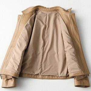 Image 3 - 2019 décontracté grande taille femmes en cuir véritable veste mince cordon qualité agneau en cuir véritable manteau Harajuku vêtements femme