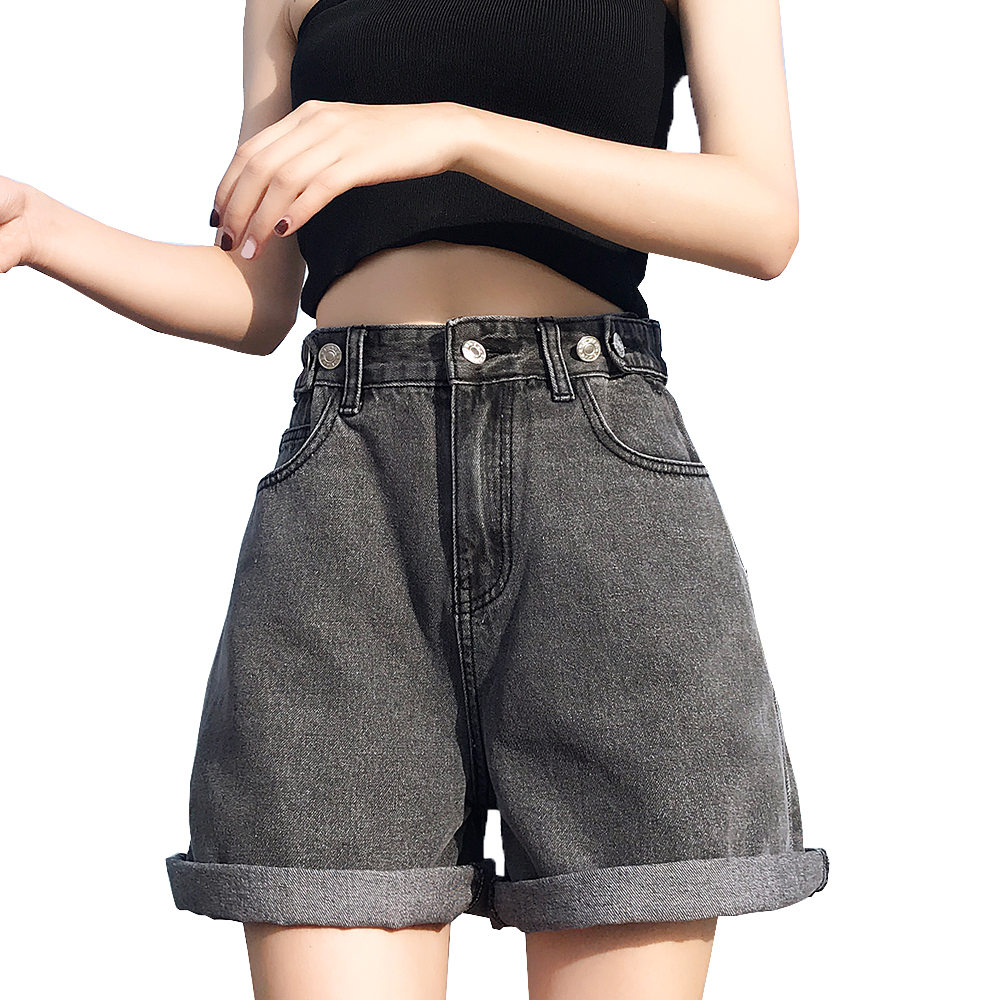 Women's Denim Shorts Fashion Classic Vintage Blue High Waist  Wide Leg  Ladies Casual Summer Female Shorts Jeans For Women