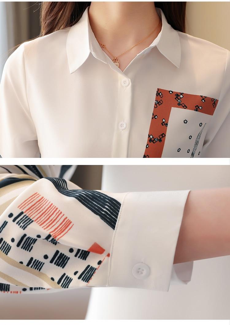 Korean Fashion Clothing Blusas Mujer De Moda 2021 Spring Long Sleeve Office Lady Blouse  Print Button  Chiffon Shirts 8805 50 6