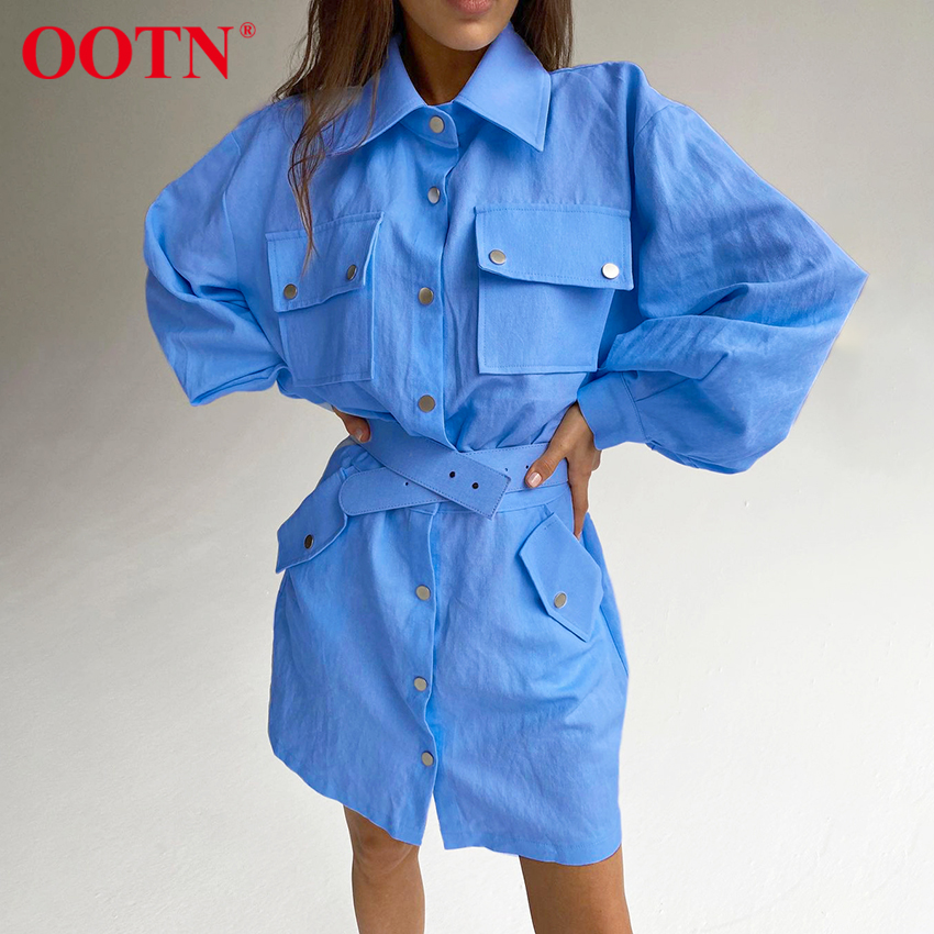 OOTN Blue Office Work Shirt Dress Female Lantern Sleeve Casual Ladies Khaki Pocket Sashes Elegant Women Short Dresses Cotton
