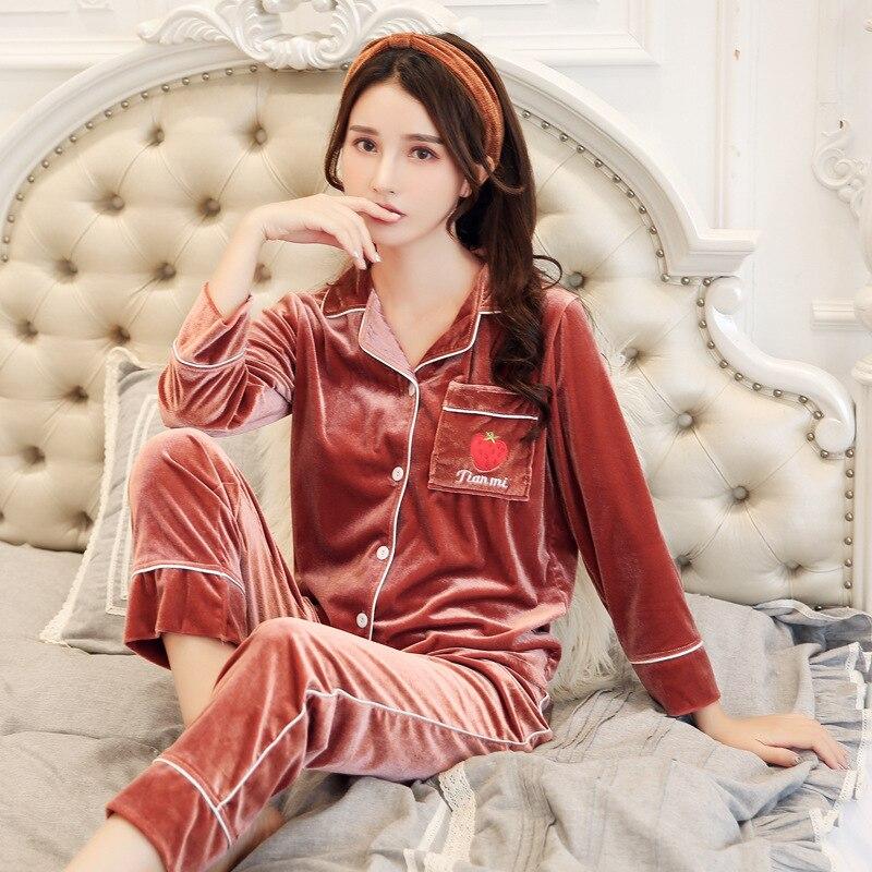 [Temperature Attitude Warm] Korean-style Pajamas Women's Autumn And Winter Sexy Sweet Cute Gold Velvet Tracksuit Two-Piece Set