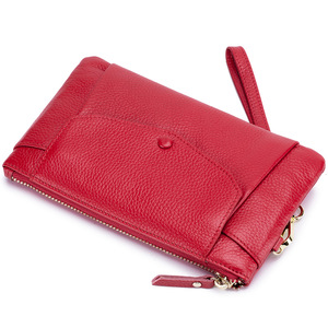 Image 5 - Fashion Women Wallets Handbag Genuine Leather Pouch Ultra thin Wristlet Clutch Lady Cash Phone Coin Purse Small Clutch Pouch