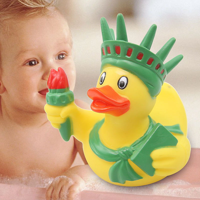 Statue Of Liberty Duck PVC Baby Shower Rubber Ducks Bathtub Toddler Boy Toys Plastic Duck Baby Shower Games Yellow Duck Party