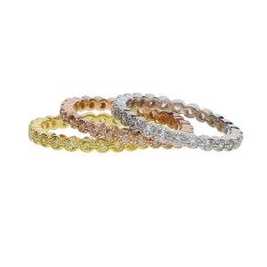 Image 3 - Трехцветные штабелируемые обручальные кольца с кубическим цирконием, набор обручальных колец с кубическим цирконием и кубическим цирконием в стиле вечности