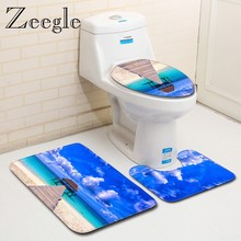 Zeegle Summer Beach Printed Bath Mat Bathroom Carpet Rug Non-Slip 3 Piece Toilet Mat Set Floor Microfiber Rugs Shower Mats(China)