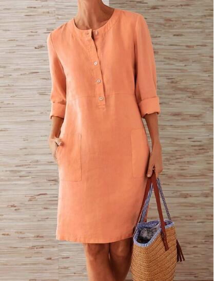 1 piece Cotton Linen three quarter sleeve female straight Midi Single Breasted Comfortable dresses for women платье летнее 5