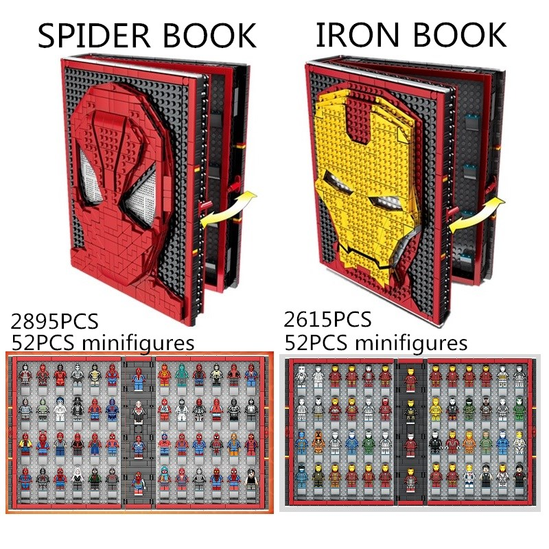 MOC Spiderman Collection Book Avengers Building Blocks Bricks 52 Minifigures Fun