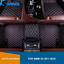 Leather Car floor mats For BMW X3 2011 2012 2013 2014 2015 2016 High Quality Custom auto foot Pads automobile carpet cover SUNZ auto floor mats for ford explorer 2013 2014 2015 foot carpets car step mats high quality brand new embroidery leather mats