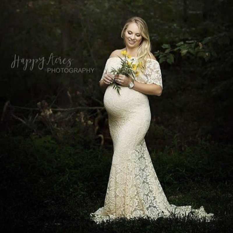 Maternity Renda Tanpa Bahu Gaun Foto Menembak Kehamilan Dress Fotografi Bayi Shower Maxi Gaun Pernikahan Wanita Hamil Pakaian
