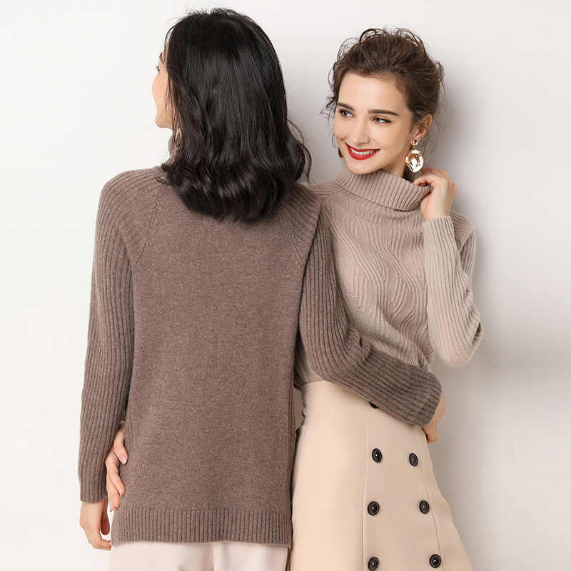 Sweater Women's New Knit Cashmere Sweater High Neck Turtleneck Warm Knit Sweater Solid Color Slim Fashion Long Sleeve Sweater