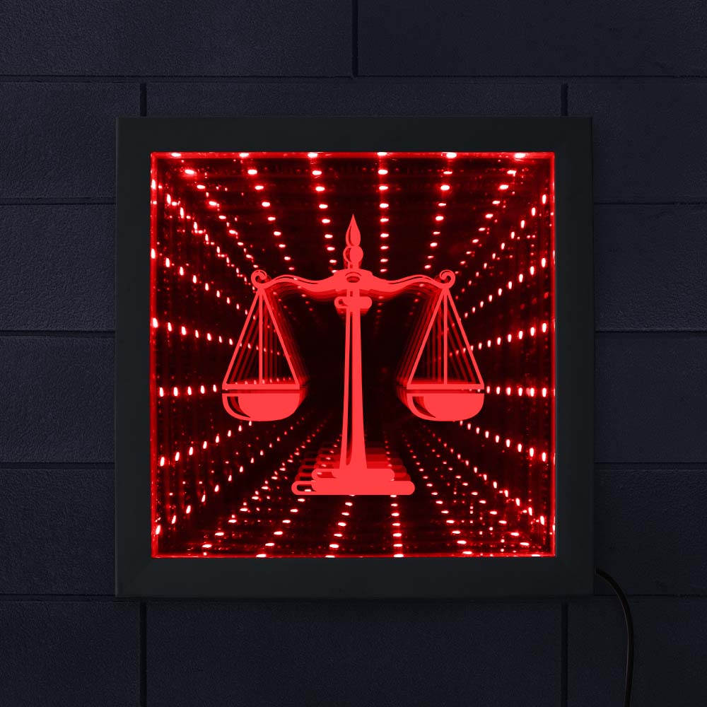 Law Attorney Scale of Justice 3D Infinity Mirror Firm Attorney Office Courthouse Lighting LED Vortex Tunnel Interstellar Mirror image