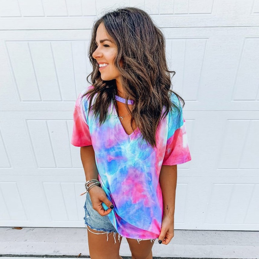 Summer New Tie-dye Printed V-neck Short-sleeved T-shirt Ladies Tops 2020 Designer Womens Loose Casual Tee Shirts Large Sizes 3XL