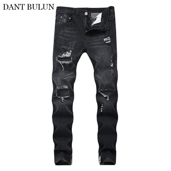 Slim Fit Jeans For Men Vintage Denim Zipper Pencil Pants Stretch Trousers Ripped Male With Button Fly Blue Black Men's Pants цена 2017