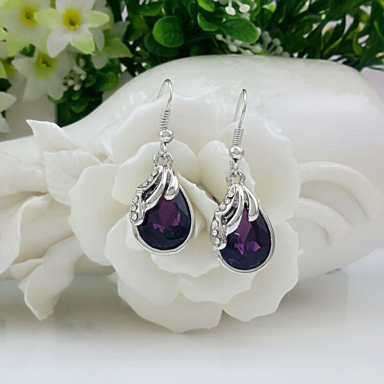 Women's 100% Fine 925 sterling silver transparent classic earrings amethyst Bride Christmas gift E069