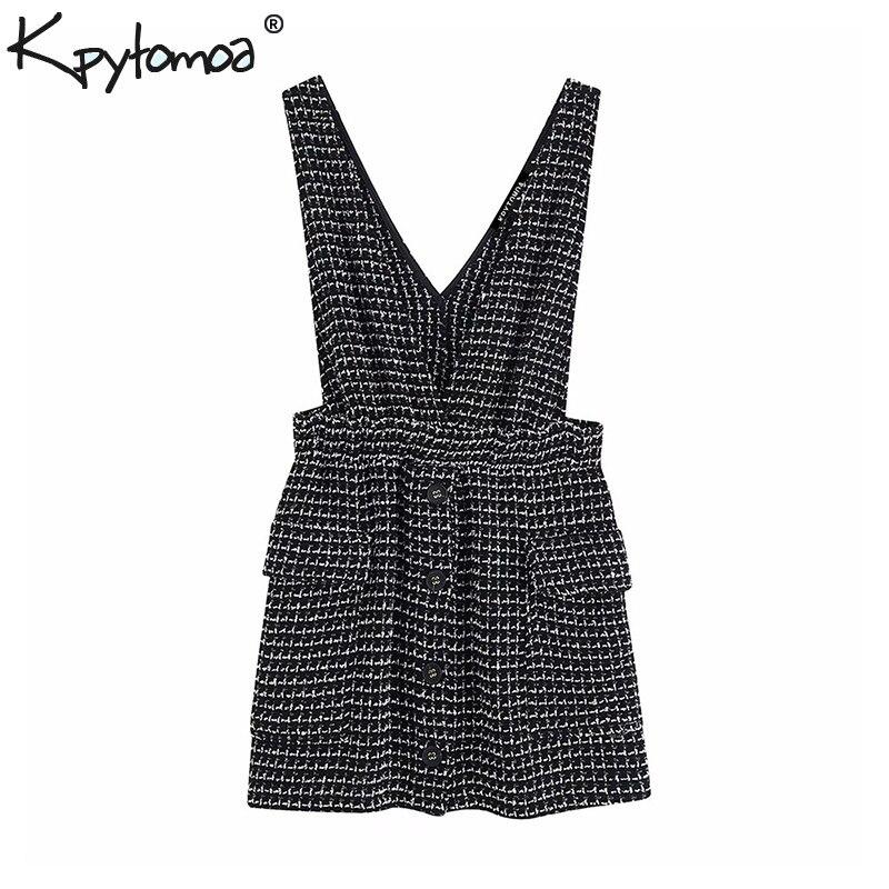 Elegante Decote Em V Profundo do vintage Tweed Mini Vestido Mulheres 2019 Moda Vestidos Sem Mangas e Com Bolsos Cintura Elástica Vestidos Mujer