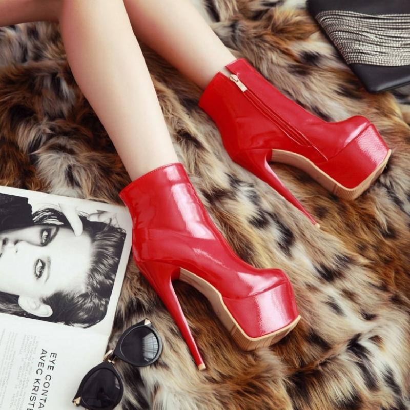 Womens Stilettos Platform Casual Shoes Ankle Boots Patent Leather Side Zipper Super High Heel Shoes 15CM 3Colors Plus Size C286