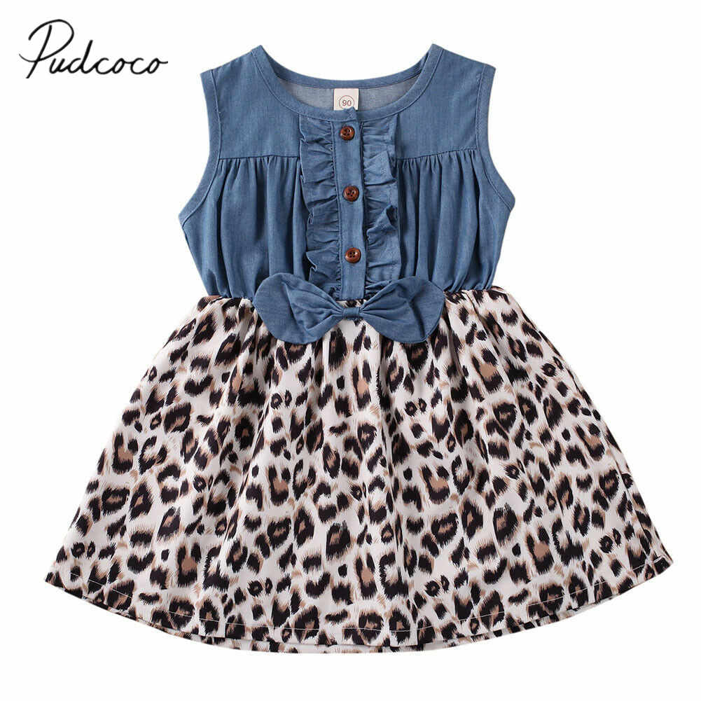 2020 Baby Summer Clothing Toddler Baby Girl Sleeveless Bowknot Clothes Princess Party Leopard Print Patchwork Dresses