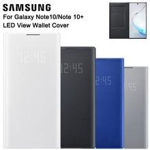 Samsung Original led보기 월렛 커버 보호 케이스 Galaxy Note 10 Plus Note10 5G Note X 수면 기능 카드 포켓
