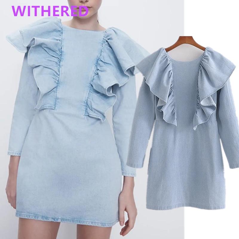 Withered 2020summer Dress Women England High Street Vintage Cascading Loose Vestidos De Fiesta De Noche Vestido Sexy Denim Dress