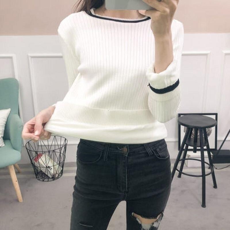 2020 New Winter Womens O-Neck Pullover Streak Knitting Fleece Lining Warm Ladies Sweater Tops Slim Fit Fashionable Female Jumper