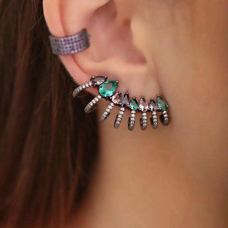 독특한 디자인 다채로운 여성 귀 커프 귀걸이 전체 포장 큐빅 지르코니아 스터드 귀걸이 성명 클립 온 귀걸이 패션 쥬얼리