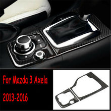 Carbon Fiber Gear Shift Panel Cover Interior Replacement For Mazda 3 Axela 2013-2016 2Pcs Parts Durable(China)