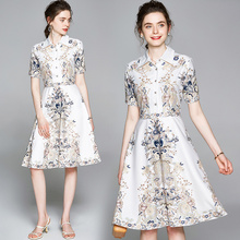 Floral-Dress Designer Runway Banulin Fashion Mini Elegant Women's Summer Short Print