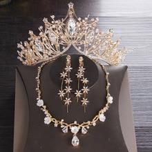 Bridal Tassel Jewelry Set Rhinestone Crystal Tiara Crown Earrings for Wedding Necklace Set Accessories Bride Luxury Jewelry Set