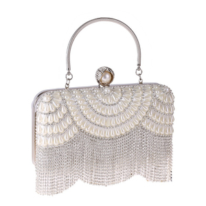 2020 New Vintage Luxury Crystal Pearl White Evening Clutch Lady Elegant Handbag Wedding Party Fashion Lady Wallet Bag