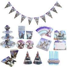 Fortnite tema decoração de aniversário bolo suporte copo de papel bandeja conjunto de utensílios de mesa suprimentos acessórios de festa do miúdo brinquedos de natal presente