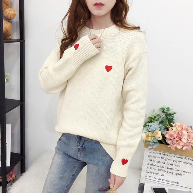 Ailegogo Autumn Winter Knitted Heart Printed Women Pullovers Sweater Casual Woolen Warm O-neck Long Sleeve Female Sweater 5
