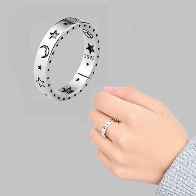 «Луна», «Звезды» кольца для Для женщин вечерние Винтаж, ювелирное изделие, подарок ретро открытие любимой Регулировка размера тайское сере...