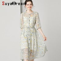 SuyaDream Women Floral Print Long Dress 100%Silk Beach style Half Sleeved Round Collar Belted Waisted Dresses 2020 Summer New