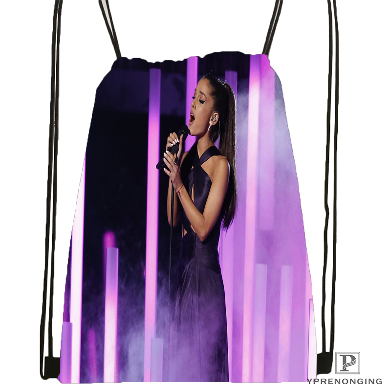 Custom Ariana Grande Drawstring Backpack Bag For Man Woman Cute Daypack Kids Satchel (Black Back) 31x40cm#180531-01-03