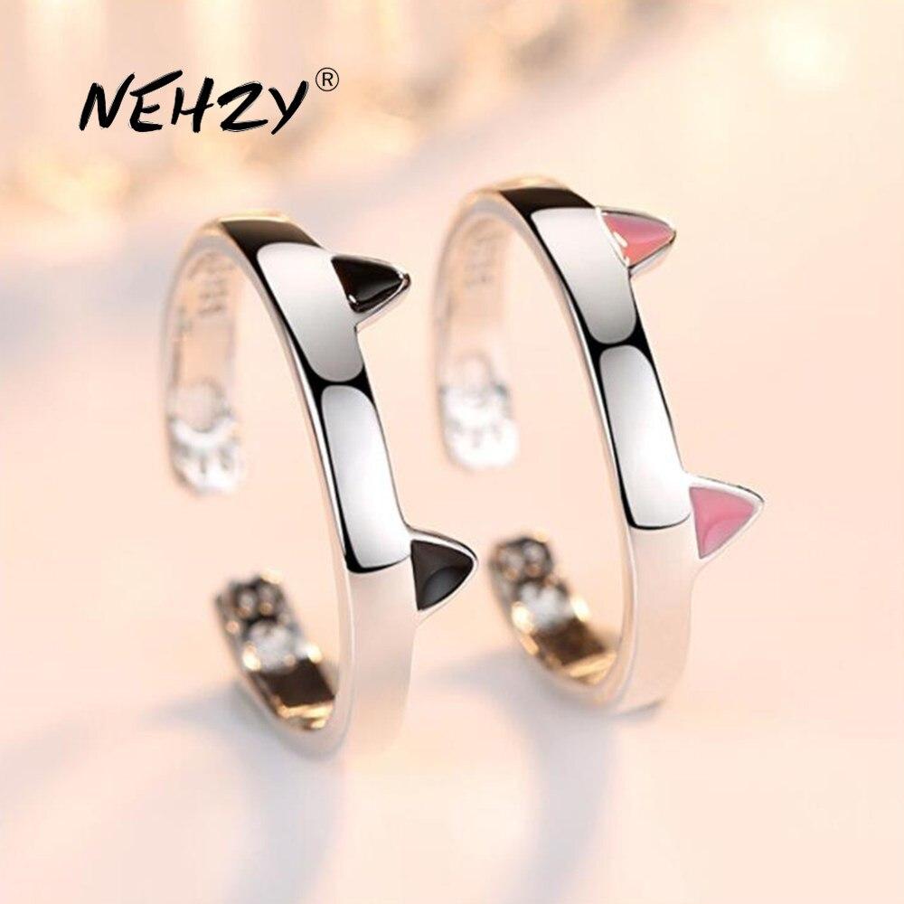Nueva joyería de plata de ley 925 NEHZY, anillo abierto de alta calidad para mujer, anillo de plata ajustable de tamaño retro y sencillo con Gato bonito
