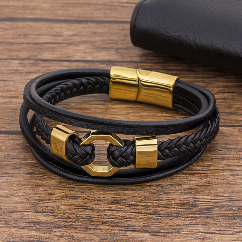 Tendy Fashion Luxury Braided Rope Stainless Steel Men Bracelet Leather Black Gold Magnetic Clasp Bangles Jewelry Gift For Father