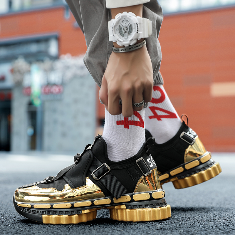 Men Streetwear Sport Shoes Men Large Gear Bottom Thick Gold Basket Casual Shoe Zapatillas Hombre Deportiva Fashion Sneakers