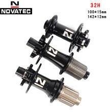 Novatec cubos de roda de bicicleta de montanha d791 d792sb frente 100 front 110mm * 15mm traseiro 142 hub 148mm * 12mm freio a disco 4 rolamento cubo de roda de bicicleta