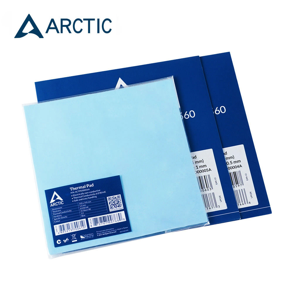ARCTIC Thermal Pad 6.0 W/mK Conductivity 0.5mm 1.0mm 1.5mm Thermal Mat 145*145MM Thermally Conductive Adhesive