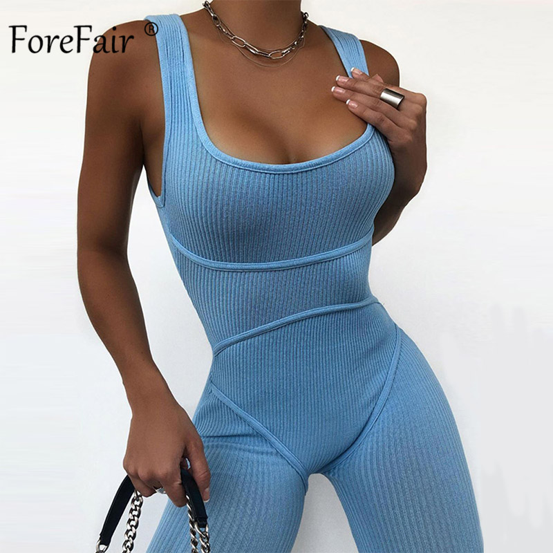 Forefair Summer Outfits Women Ribbed Sexy Off Shoulder Solid Casual Sleeveless Home Sport Skinny Knitted Women Tracksuit