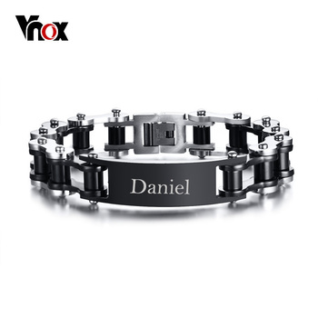 цена на Vnox Free Personalized Engraving Punk Bike Chain ID Bracelet For Men Stainless Steel Biker Cycle Links Male Masculina  Pulseira